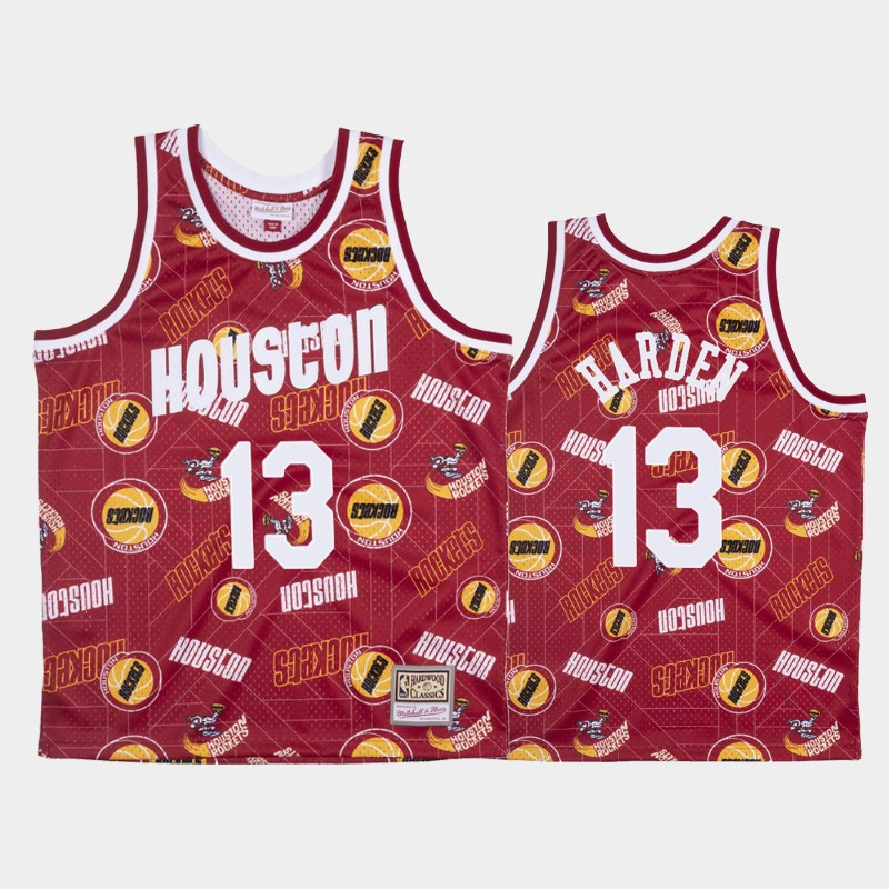 James Harden Houston Rockets Tear Up Pack Red Hardwood Classics Jersey