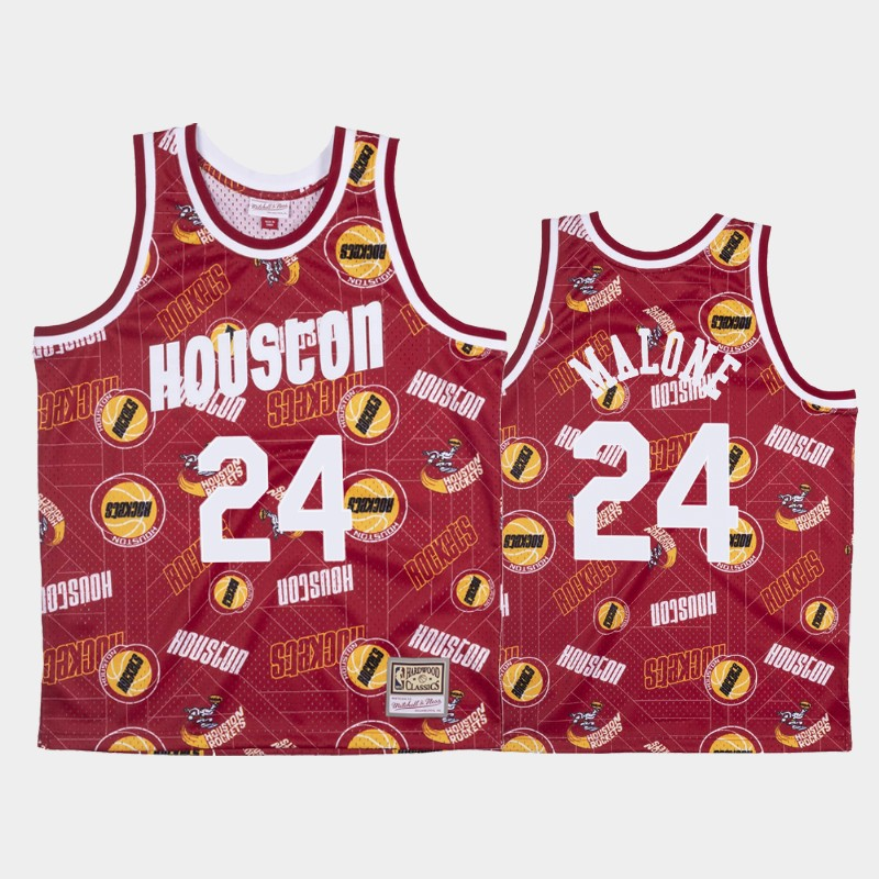 Moses Malone Houston Rockets Tear Up Pack Red Hardwood Classics Jersey