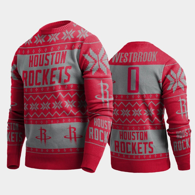 Russell Westbrook Houston Rockets Red 2019 Ugly Christmas Pullover Sweater