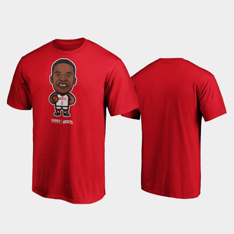 Russell Westbrook Houston Rockets Red 2020 NBA Playoffs Bound Star Name & Number T-Shirt