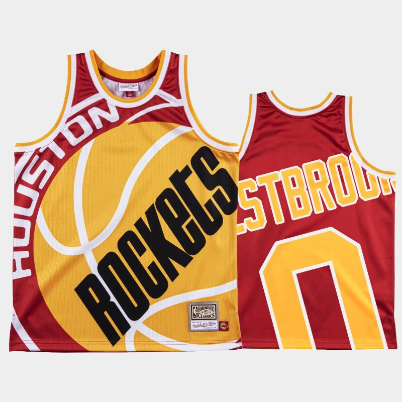 NBA Rockets Russell Westbrook Big Face Red Jersey