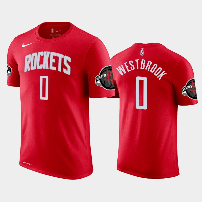 Russell Westbrook Houston Rockets Red Icon Name & Number T-Shirt