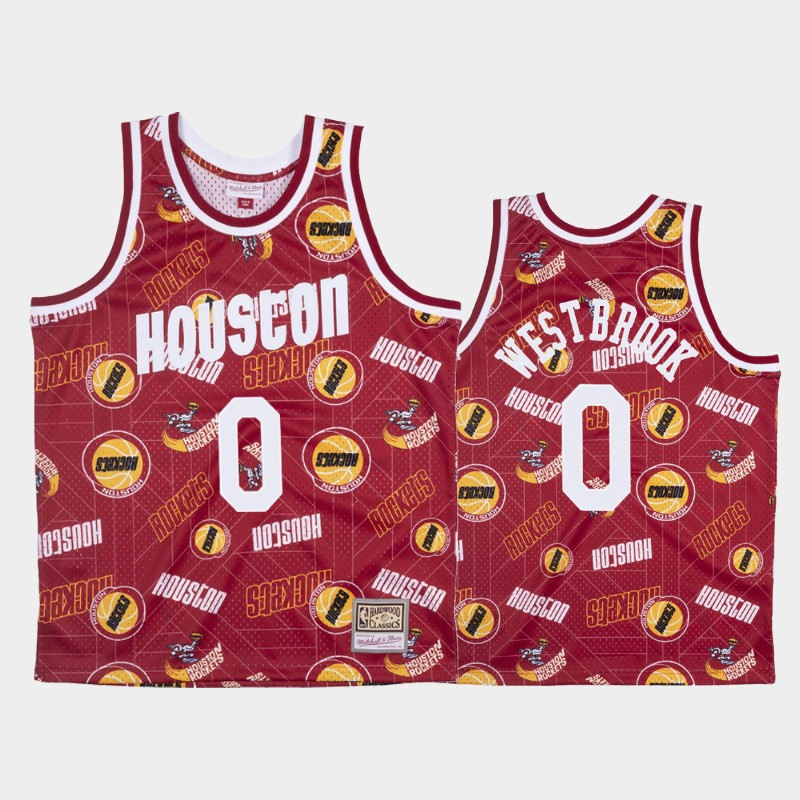 Russell Westbrook Houston Rockets Tear Up Pack Red Hardwood Classics Jersey