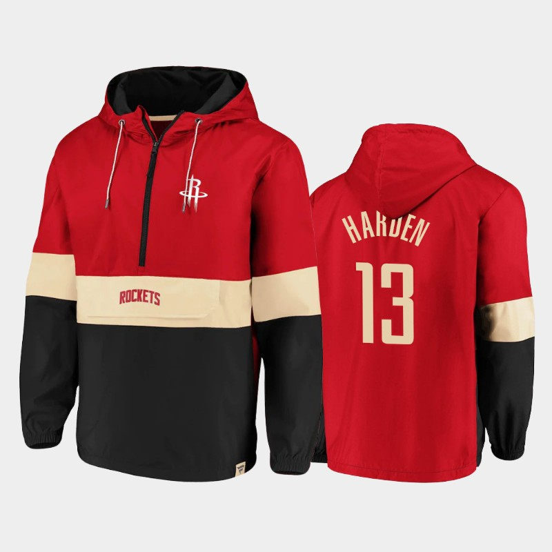Houston Rockets James Harden Classics Lead Blocker Anorak Hoodie Half-Zip Windbreaker Jacket - Red Black