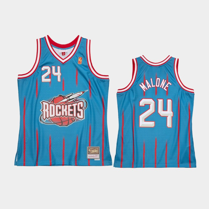 Houston Rockets Moses Malone Reload 2.0 Light Blue Jersey