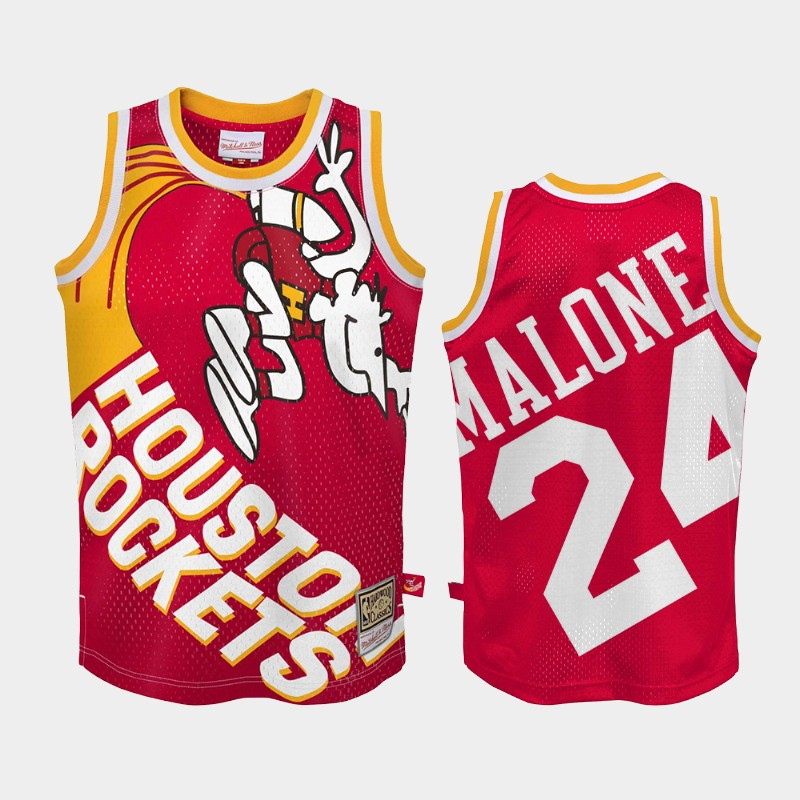 Houston Rockets Moses Malone Big Face 2.0 Red Hardwood Classics Jersey