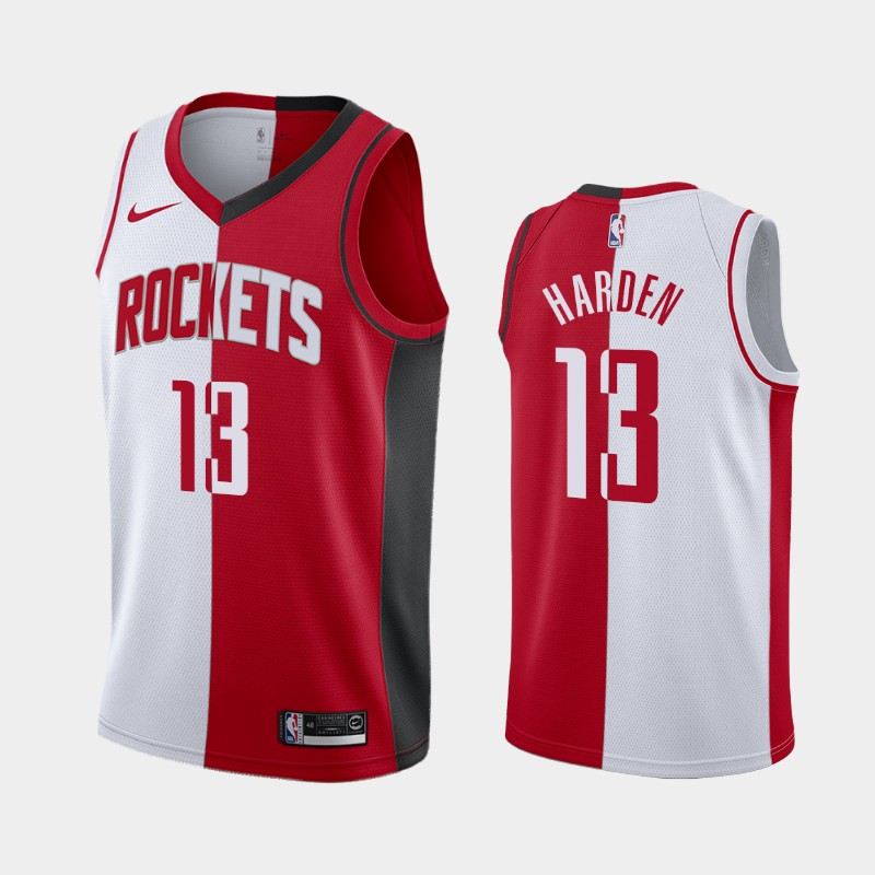 James Harden Houston Rockets White Red Split Two-Tone Jersey
