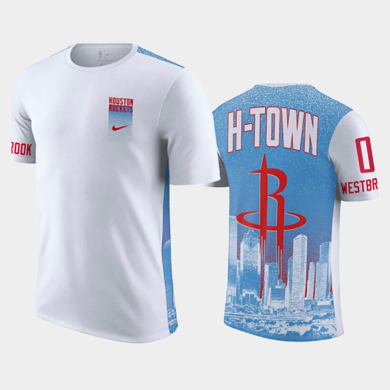 Russell Westbrook Houston Rockets Blue White 2020-21 City H-Town T-Shirt
