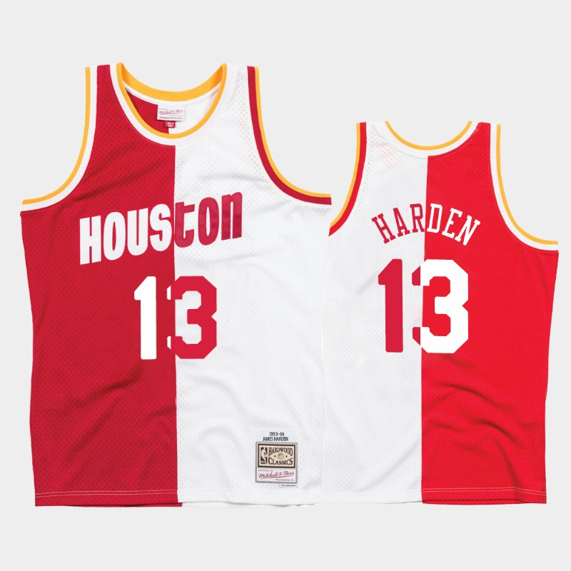 Rockets James Harden Split Jersey Hardwood Classics White Red