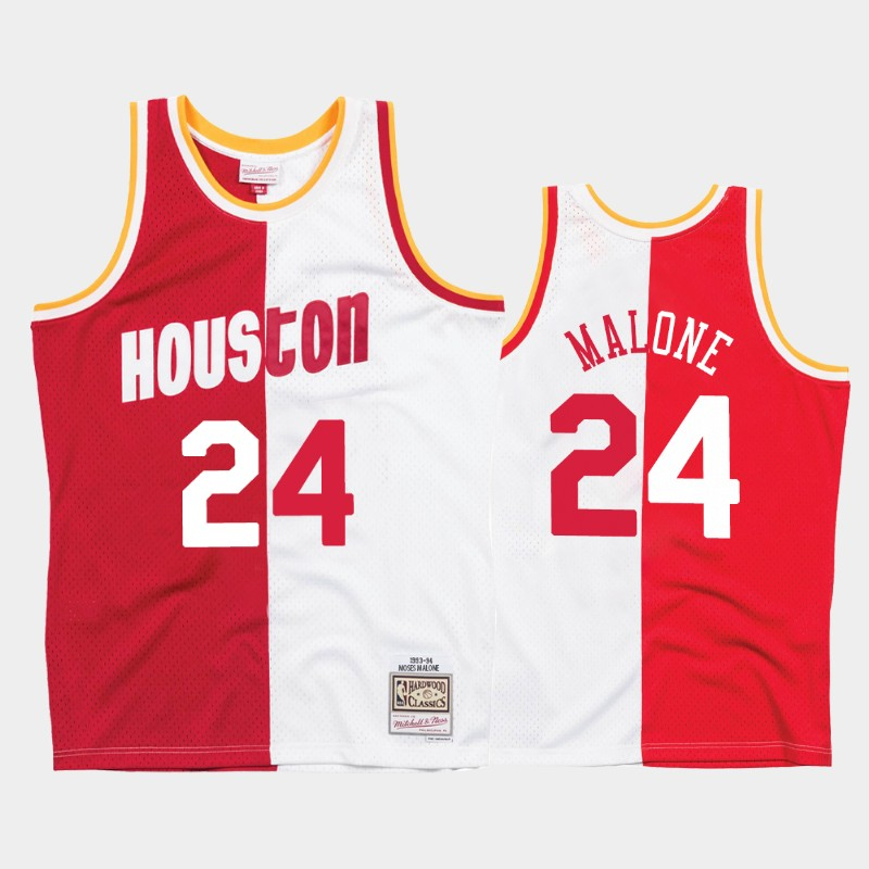 Rockets Moses Malone Split Jersey Hardwood Classics White Red