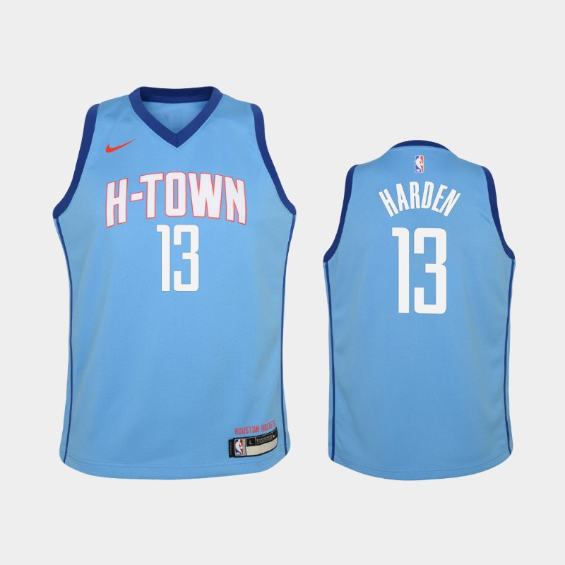 Youth 2020-21 Rockets James Harden City Blue Jersey