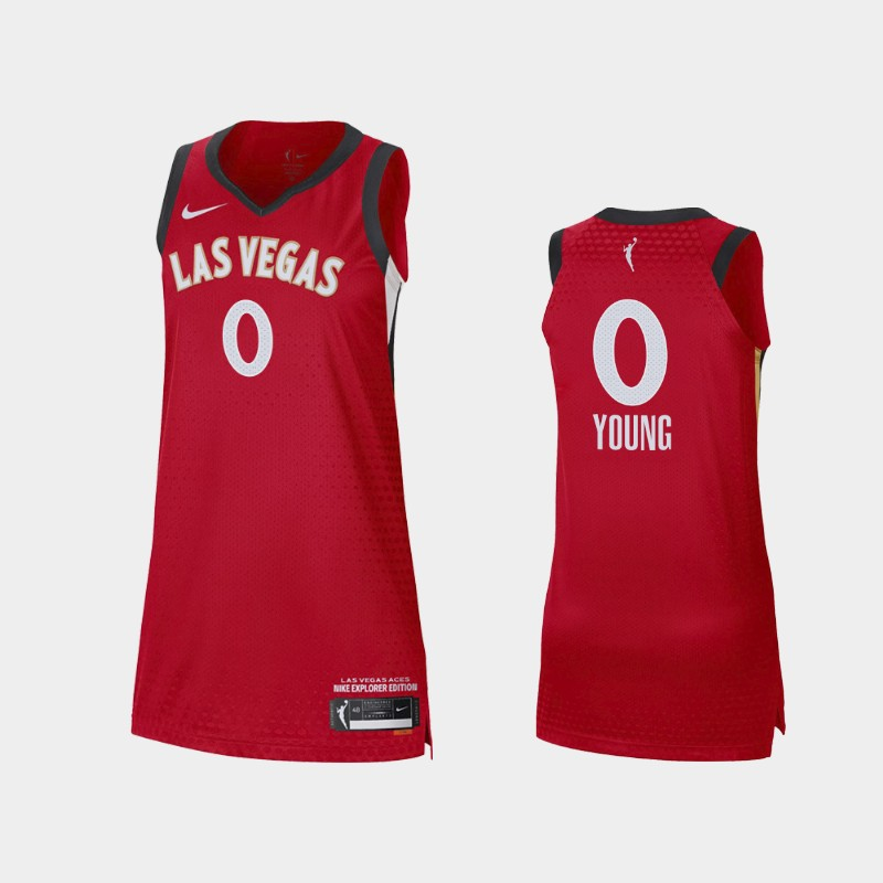 Las Vegas Aces Jackie Young 2021 Explorer Edition Jersey - Red