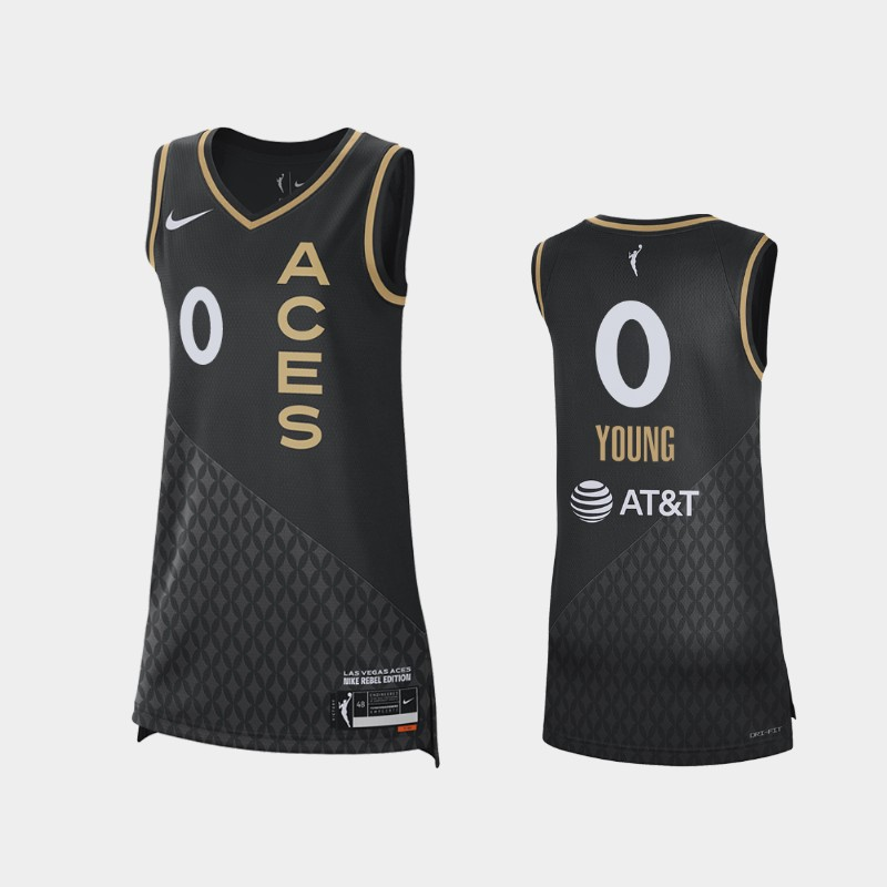Las Vegas Aces Jackie Young 2021 Rebel Edition Jersey - Black