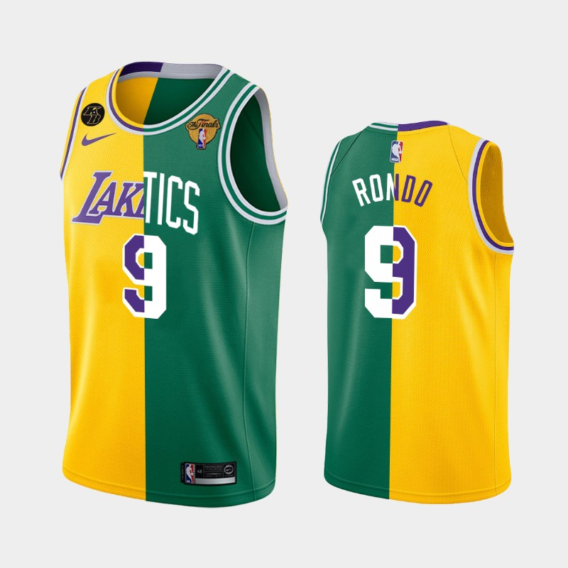 Rajon Rondo Los Angeles Lakers X Boston Celtics Gold Green NBA Finals Two-Tone Jersey