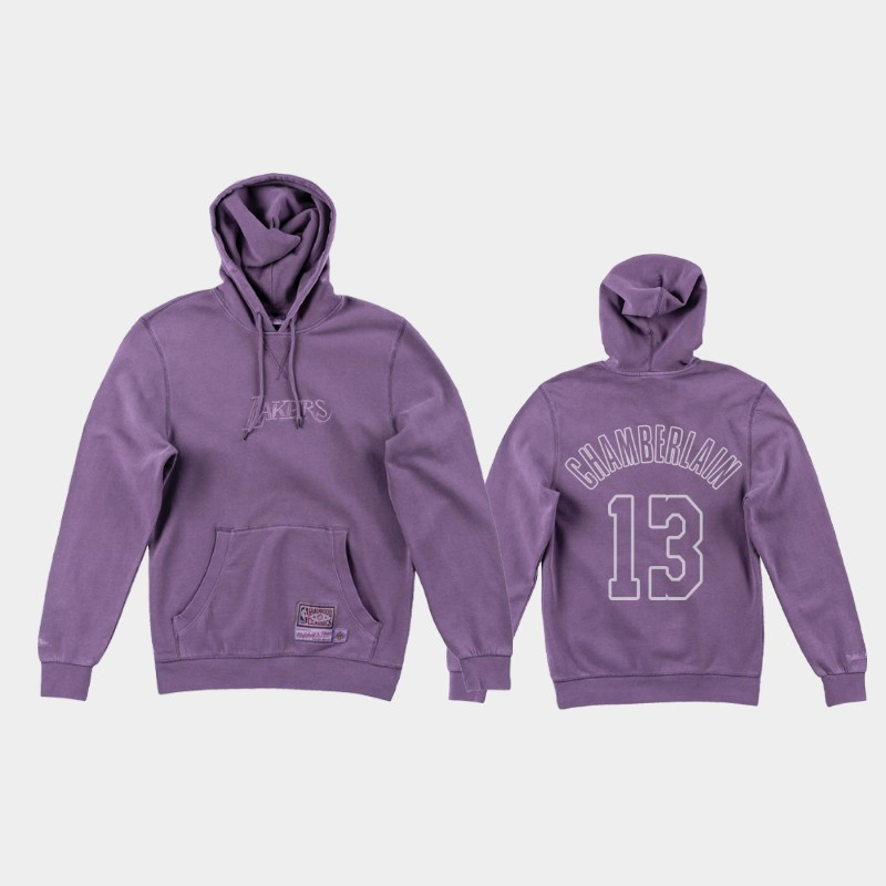 Lakers Wilt Chamberlain Dip-Dye Iconic Purple Washed Out Hoodie
