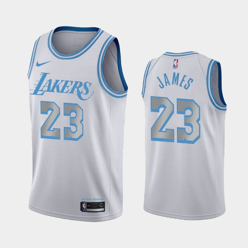 Los Angeles Lakers LeBron James 2020-21 City Jersey - Silver