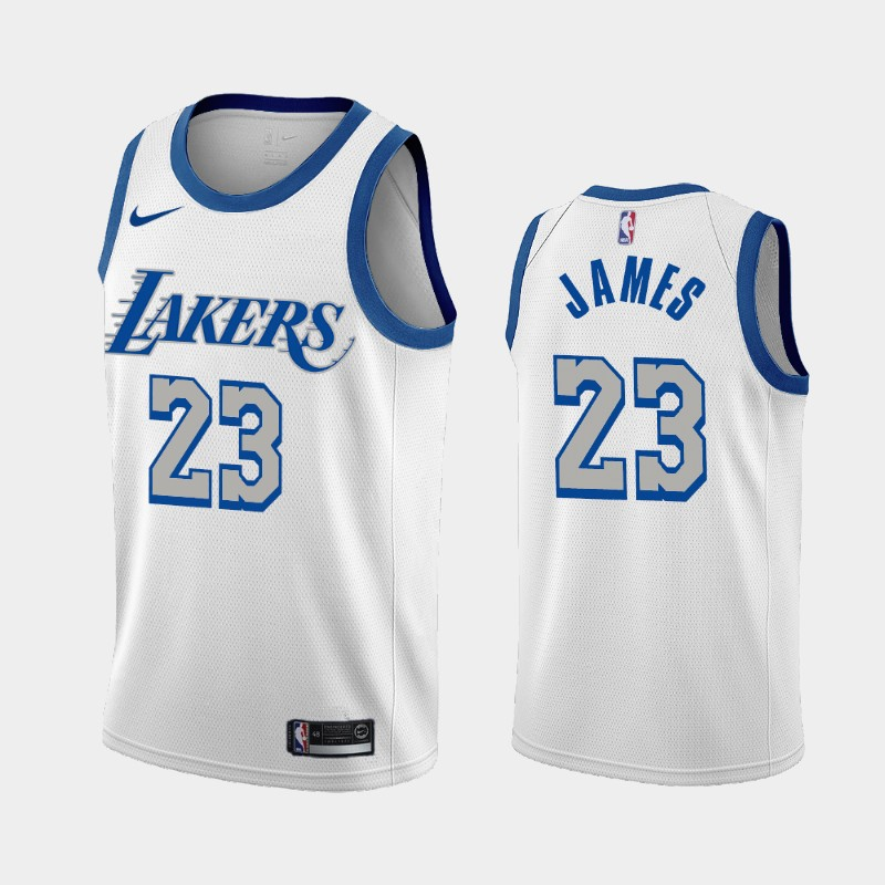 Los Angeles Lakers LeBron James 2020-21 City New Blue Silver Logo Jersey - White