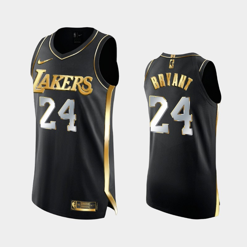 Limited Edition Los Angeles Lakers Kobe Bryant Golden Authentic Jersey - Black