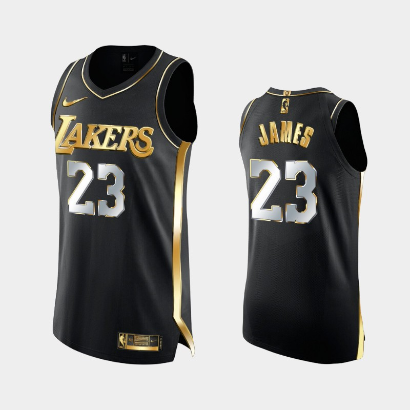 Limited Edition Los Angeles Lakers LeBron James Golden Authentic Jersey - Black
