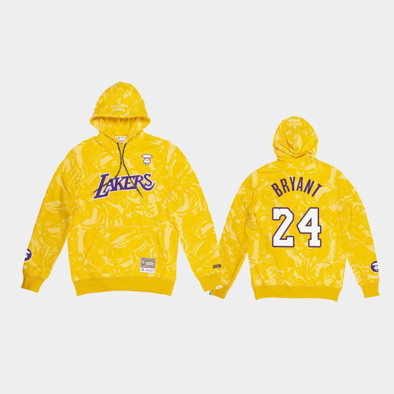Los Angeles Lakers Kobe Bryant Gold Aape Camo Hoodie