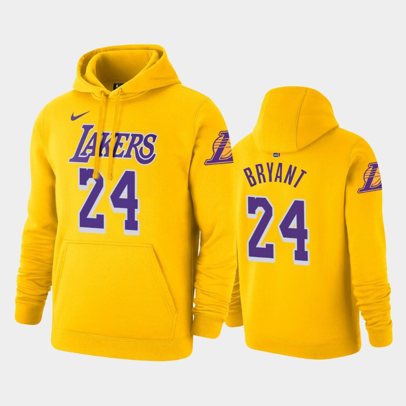 Los Angeles Lakers #24 Kobe Bryant Icon Gold Pullover Name & Number Hoodie