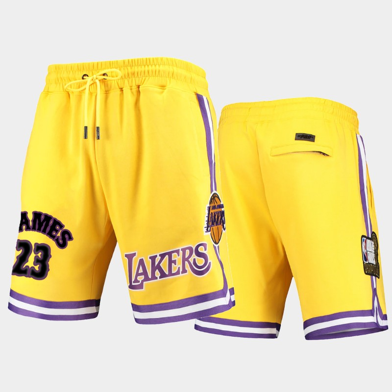 Los Angeles Lakers LeBron James Pro Standard Gold Shorts