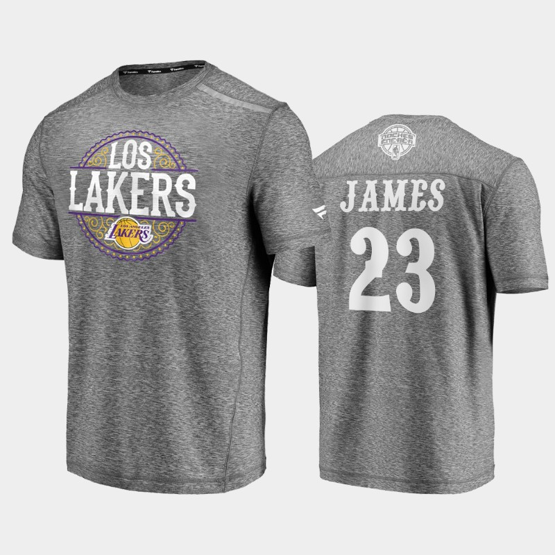 Lakers LeBron James 2020 Latin Nights Heathered Gray Noches Ene-Be-A T-Shirt