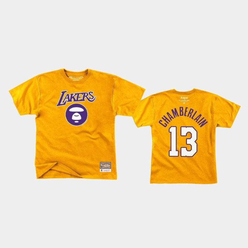 Los Angeles Lakers Wilt Chamberlain Yellow Aape T-Shirt
