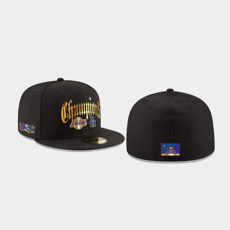 Lakers 2020 Dual Champions Black 59FIFTY Fitted Hat