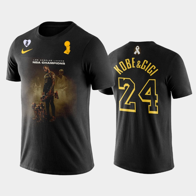 Kobe Bryant LA Lakers 2020 NBA Crown Black Honor Kobe and Gigi T-Shirt
