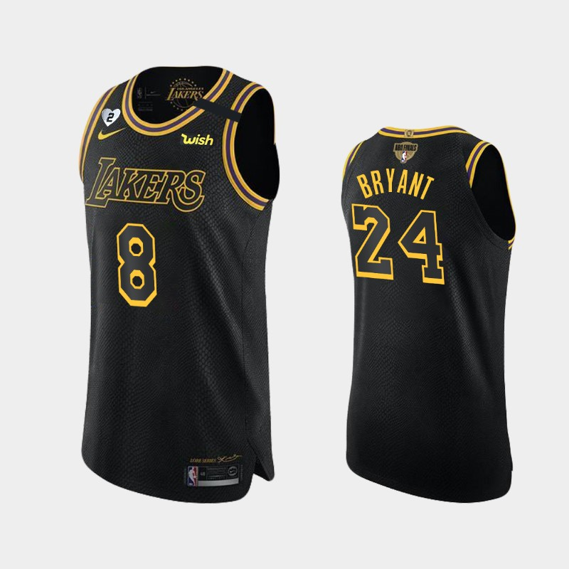 Kobe Bryant Lakers 2020 NBA Finals Bound Black Dual Number Authentic Kobe and Gianna Tribute Jersey