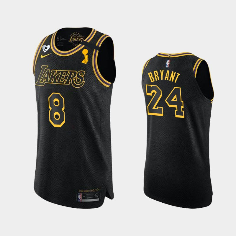 Kobe Bryant Lakers 2020 NBA Finals Champions Black Dual Number For Kobe and Gianna Jersey