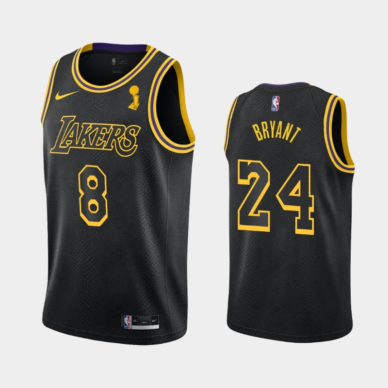 Kobe Bryant Lakers 2020 NBA Finals Champions Black Dual Number Tribute City Jersey