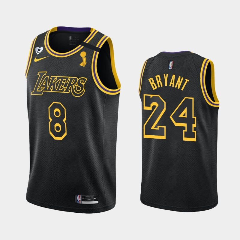Kobe Bryant Lakers 2020 NBA Finals Champions Black Dual Number Tribute Kobe and Gianna Jersey
