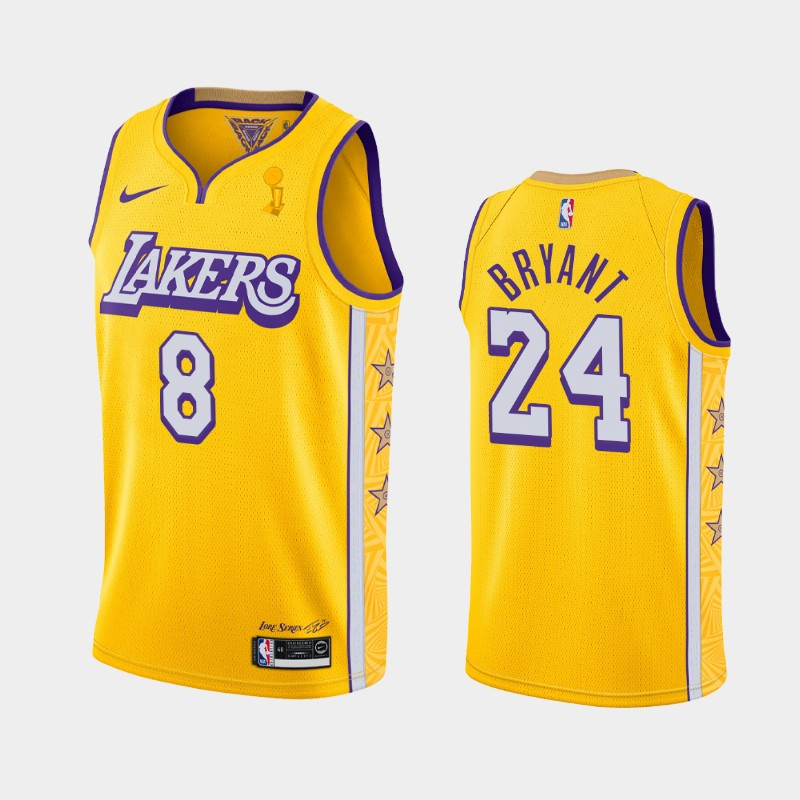 Kobe Bryant Lakers 2020 NBA Finals Champions Gold Dual Number City Jersey