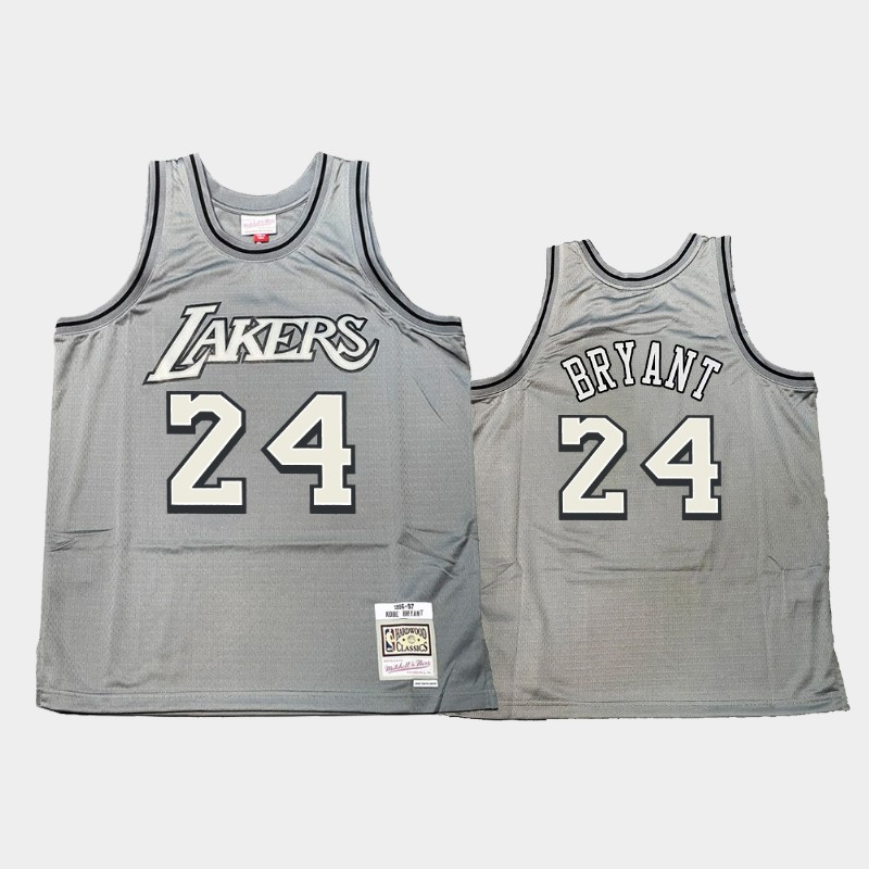 Los Angeles Lakers Kobe Bryant Hardwood Classics Gray Metal Works Throwback Jersey