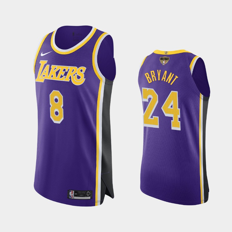 Kobe Bryant Lakers 2020 NBA Finals Bound Purple Dual Number Statement Authentic Jersey