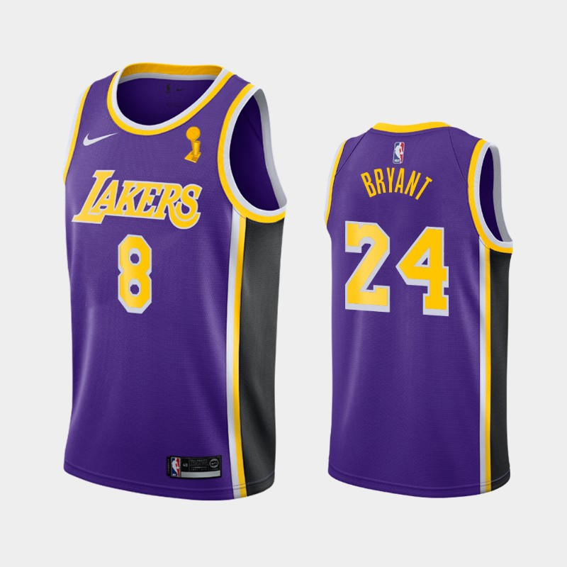 Kobe Bryant Lakers 2020 NBA Finals Champions Purple Dual Number Statement Jersey