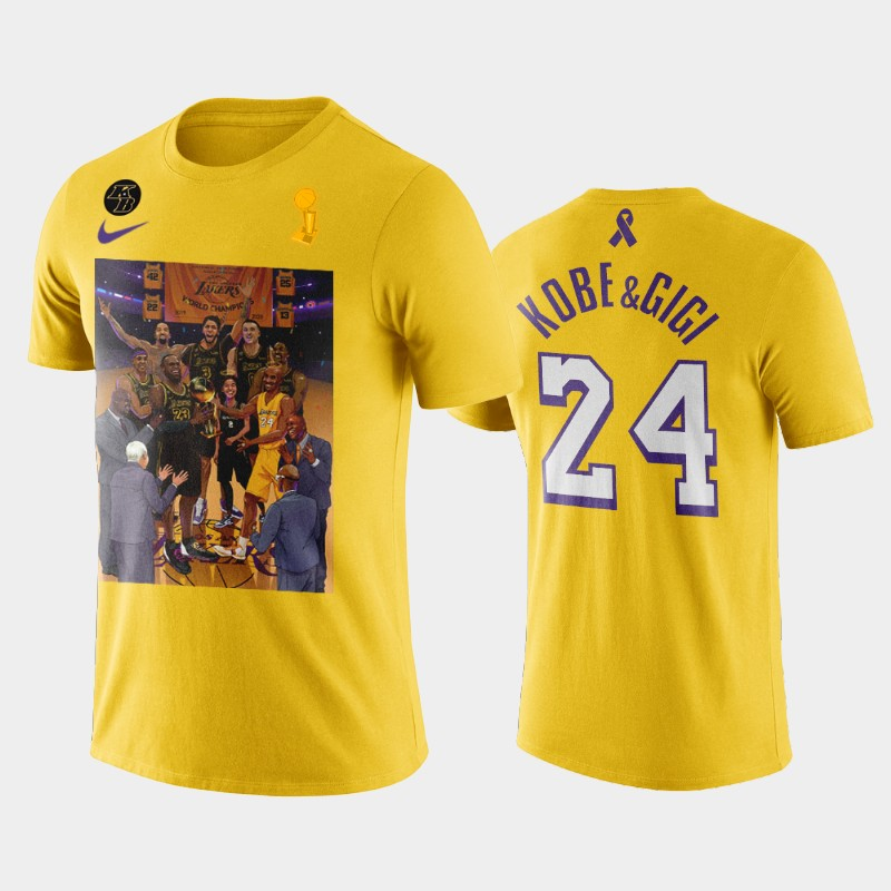 Kobe Bryant LA Lakers 17th Champions Yellow For Kobe and Gianna T-Shirt