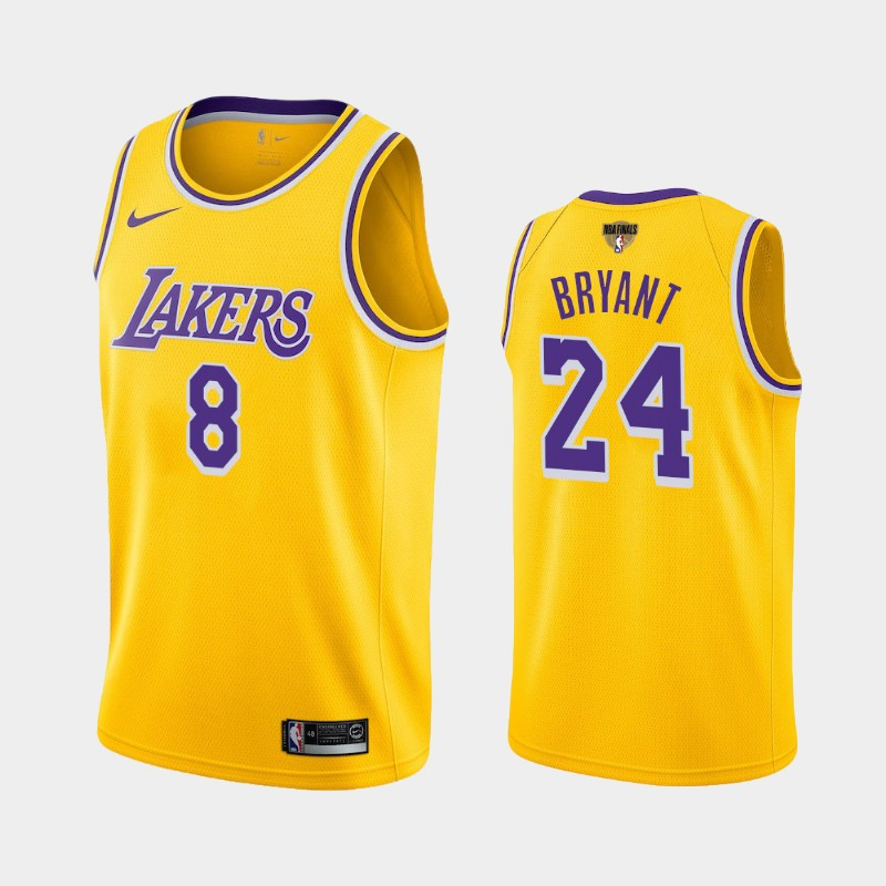 Kobe Bryant Lakers 2020 NBA Finals Bound Yellow Dual Number Icon Jersey