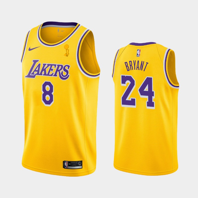 Kobe Bryant Lakers 2020 NBA Finals Champions Yellow Dual Number Icon Jersey