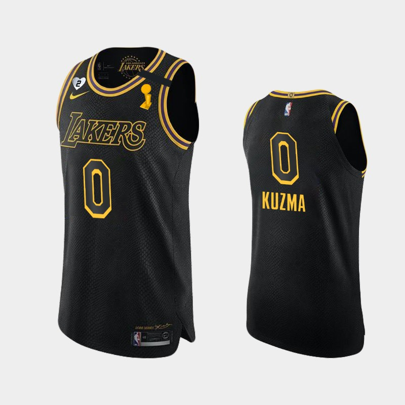 Kyle Kuzma Lakers 2020 NBA Finals Champions Black For Kobe and Gianna Authentic Jersey