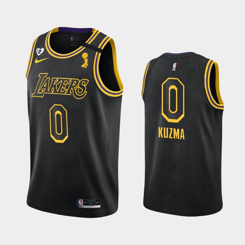 Kyle Kuzma Lakers 2020 NBA Finals Champions Black Tribute Kobe and Gianna Jersey