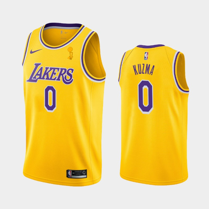 Kyle Kuzma Lakers 2020 NBA Finals Champions Yellow Icon Jersey