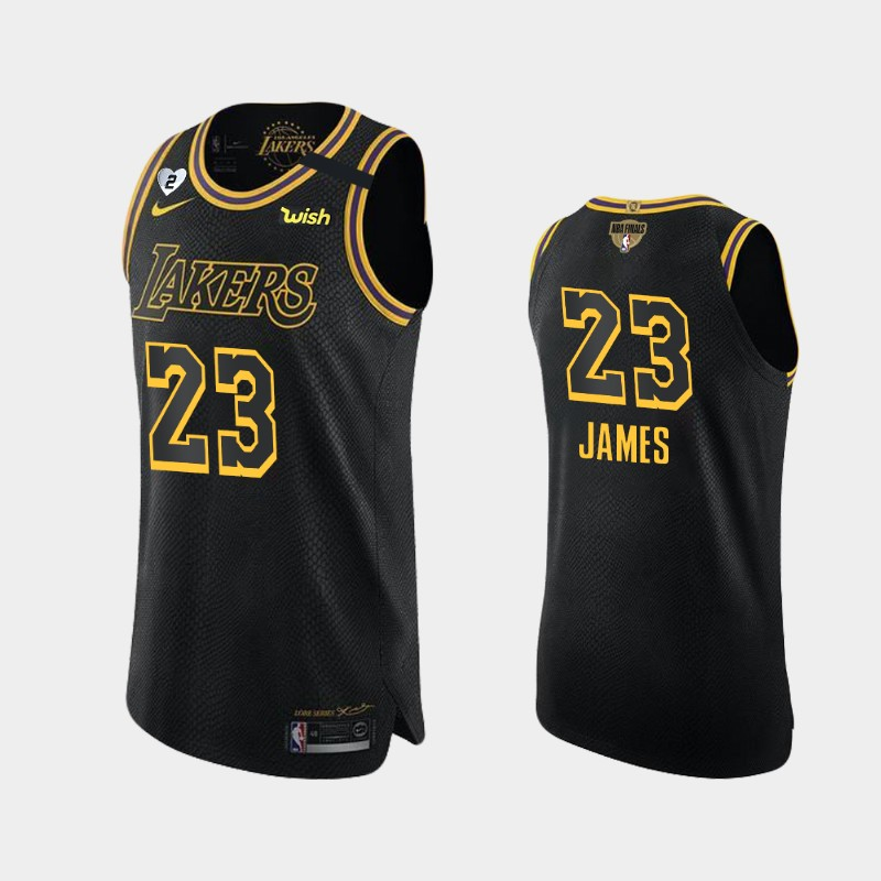 LeBron James Lakers 2020 NBA Finals Bound Black Authentic Kobe and Gianna Tribute Jersey