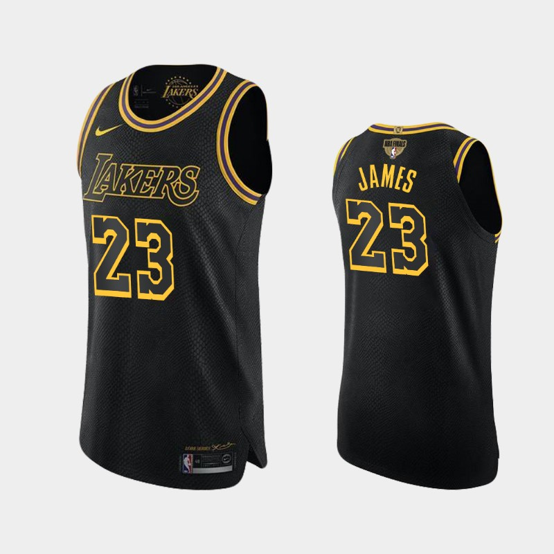 LeBron James Lakers 2020 NBA Finals Bound Black Kobe Tribute Authentic Jersey