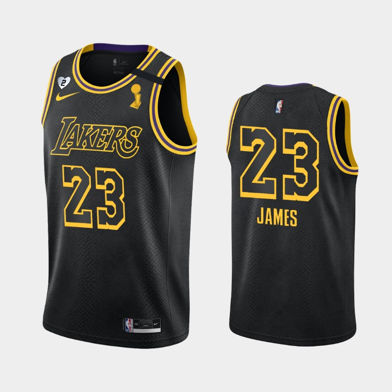 LeBron James Lakers 2020 NBA Finals Champions Black Tribute Kobe and Gianna Jersey