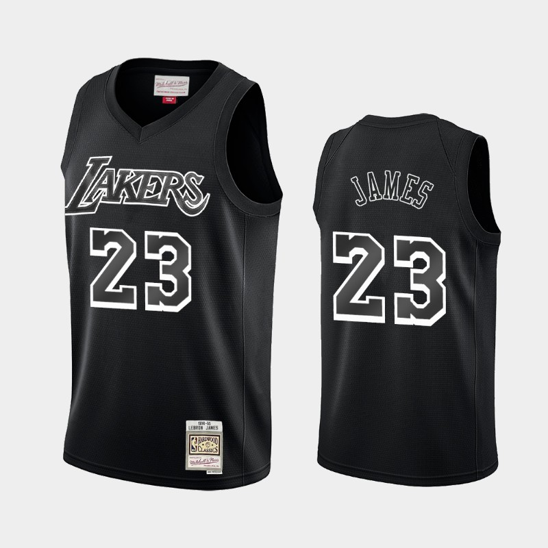 Los Angeles Lakers LeBron James Hardwood Classics Black White Logo Throwback Jersey