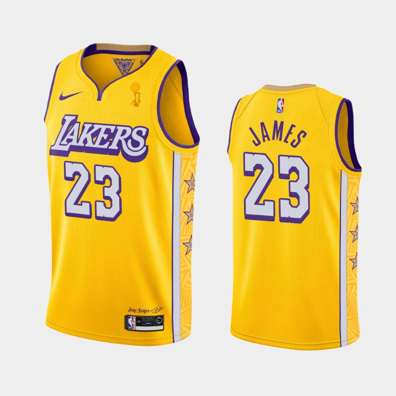 LeBron James Lakers 2020 NBA Finals Champions Gold City Jersey