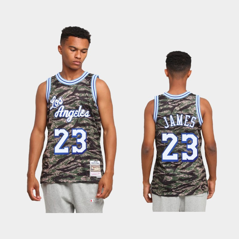 Los Angeles Lakers LeBron James Tiger Camo Green Hardwood Classics Jersey